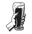 hand holding full beer glass template vector image vector image