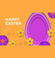 happy easter egg on flower pattern background vector image vector image