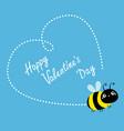 happy valentines day flying bee icon dash line vector image vector image