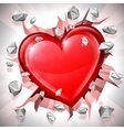 Heart Breaking Through Wall vector image vector image