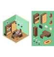 home office isometric office room interior vector image vector image