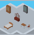 isometric furnishing set of chair bedstead vector image