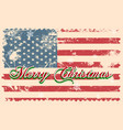 merry christmas lettering on a usa flag vector image vector image