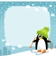 penguin winter snowy background vector image vector image