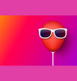 pink background with red balloon in sunglasses vector image vector image