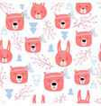 seamless pattern with cute bears and rabbits vector image