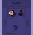 sleepless woman using smartphone lying in bed vector image vector image