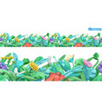 spring grass and flowers cartoon 3d seamless vector image