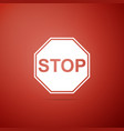 stop sign icon isolated on red background vector image vector image