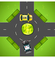 Taxi and police car on the road vector image vector image