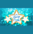 three golden star frame glowing element vector image