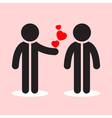 two figures with shadows and three red hearts vector image