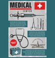vintage colored medical poster vector image