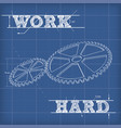 white outline gears blueprint vector image