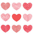 red hearts pattern of hand drawn sketch heart vector image