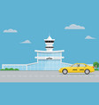 airport terminal building and yellow taxi urban vector image vector image