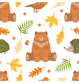 autumn forest seamless pattern colorful fall vector image vector image