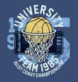 basketball league university championship team vector image vector image