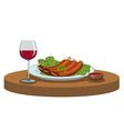 BBQ ribs and a glass of wine vector image vector image