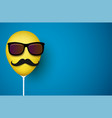 blue background with yellow balloon with mustache vector image vector image