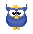 blue cartoon owl vector image vector image