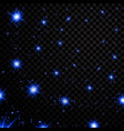 blue light stars on black transparent background vector image vector image
