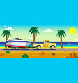 car with a boat on a trailer vector image