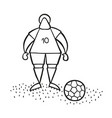 cartoon soccer player man standing with soccer vector image vector image