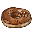 chocolate maple donut on white background vector image vector image