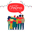 christmas and new year happy friend group hug card vector image vector image
