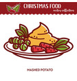 christmas food festive cuisine mashed potato vector image vector image