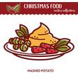 christmas food festive cuisine mashed potato vector image