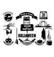 collection of icons in black for halloween vector image