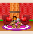 cute couple teddy bear in the romantic living room vector image