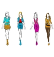 Fashion models in casual clothing vector image