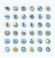 flat color thin line icons set vector image