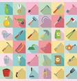 gardening tools icon set flat style vector image