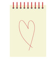 heart on paper on white background vector image vector image