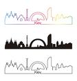 Kiev skyline linear style with rainbow vector image vector image