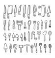 knives spoons forks set vector image vector image