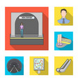 metro subway flat icons in set collection for vector image vector image
