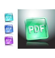 pdf icon button internet document file vector image vector image