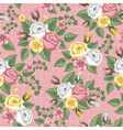 retro flower seamless pattern roses vector image vector image