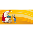 Santa with little boy greeting card vector image vector image