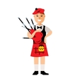 Scottish bagpiper Flat style colorful vector image vector image