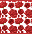 seamless background template with red roses vector image vector image