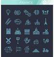 set line icons in flat design france vector image vector image