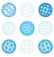 set of dimensional wireframe low poly objects vector image vector image
