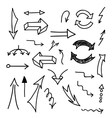 Set of hand-drawn arrows on white background vector image vector image