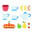 set products and utensils for tea drinking vector image
